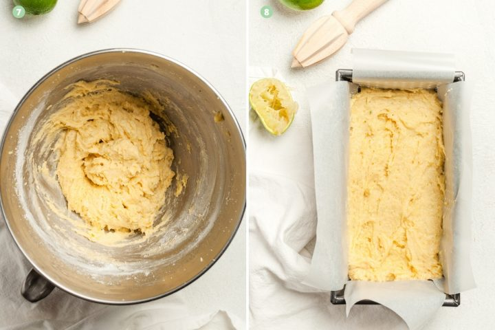 process shots of steps 7-8, the finished cake batter and putting it into the loaf tin