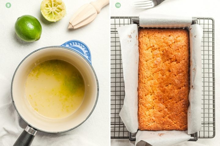 process shots 9-10 of making the cake: preparing the lime drizzle in saucepan and pricking the cake with a fork