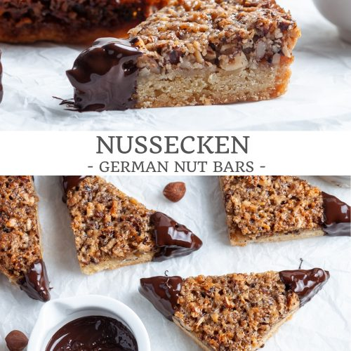 pin for German nut bars showing two images: side view to show the shortbread and hazelnut layer, and the overhead shot of chocolate dipped corners