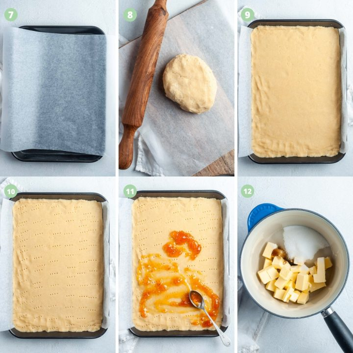 photo collage of steps 7-12; rolling out shortbread dough, topping with jam and starting the hazelnut topping
