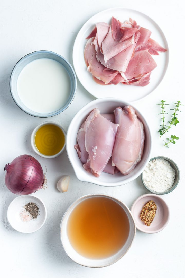 ingredients for chicken and ham pie filling laid out individually