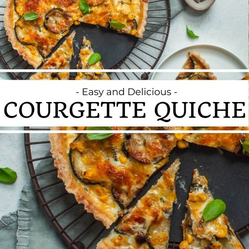 pin for easy and delicious courgette quiche with two images: the top image shows quiche being served, the bottom image is of a close up of cut quiche