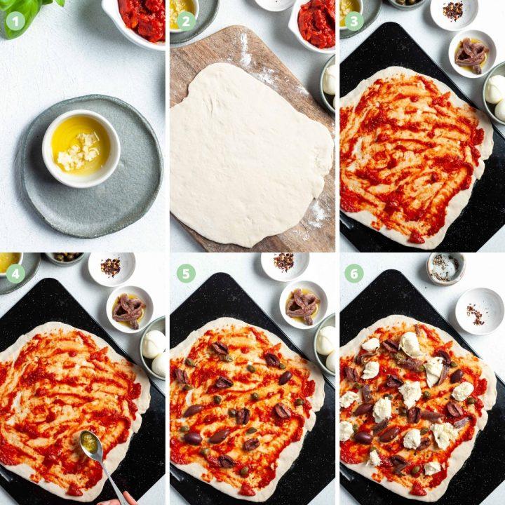 Pizza puttanesca process images