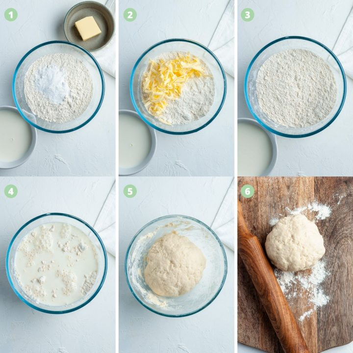 step by step process shots 1-6 for making pizza scrolls: mix flour and baking powder, add grated butter, mix, add milk, form into dough, roll dough