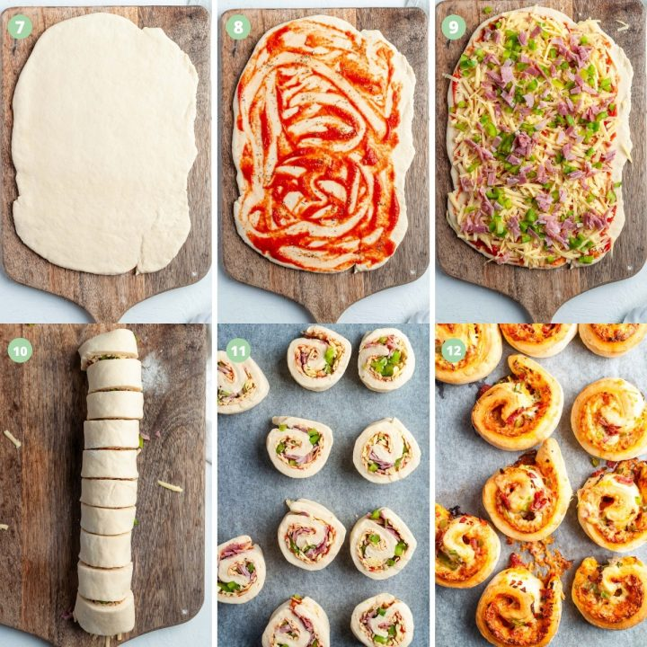 process shots 7-12 showing how to make pizza scrolls: roll dough to a rectangle, spread tomato sauce over, sprinkle over fillings, roll into a sausage and cut, place on baking sheet, bake until golden