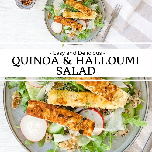 pin for quinoa and halloumi salad with two images, one showing it served on a blue plate, the bottom image a close up of the salad and golden fried halloumi
