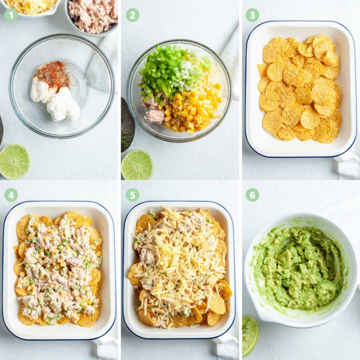 6 step by step process shots to show how to make tuna nachos: mixing dressing, adding tuna and vegetables, layering nachos, then tuna, topping with cheese, making mashed avocado to go on top