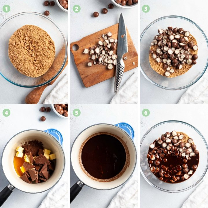 step by step process shots how to make Malteser tray bake: crush biscuits, chop Maltesers, mix, melt chocolate, butter and cocoa, mix with biscuits