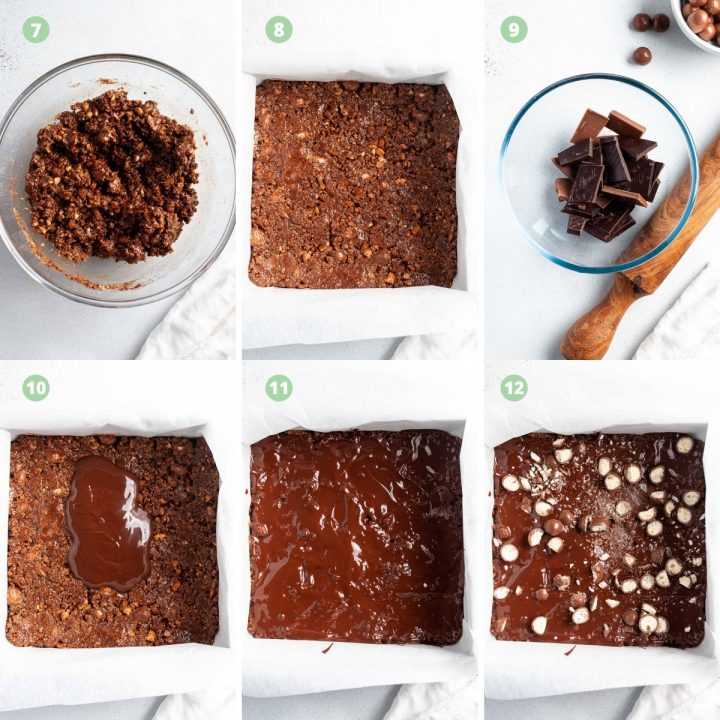 step by step process shots 7-12 or making Malteser traybake: stir to combine, spread out in tin, malt chocolate, spread over biscuit layer, sprinkle with chopped Maltesers
