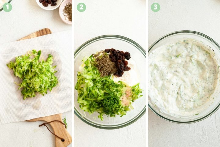 process shots 1-3 of how to make this Persian yogurt dip: grate cucumber and drain, add to yogurt with raisins, mint, salt, and mix