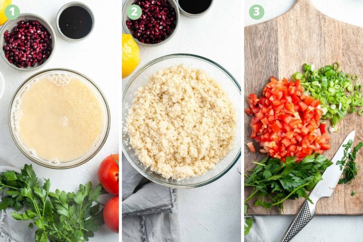 steps 1 to 3 of making kisir bulgar salad: Soaking the bulgar, showing soaked soaft and fluffy bulgar, and chopping vegetables
