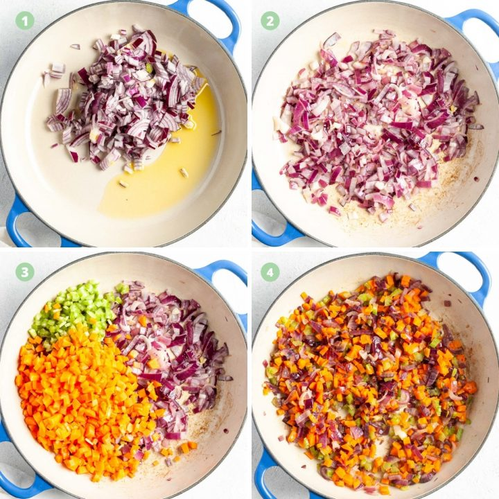 step by step process shots 1-4 making savoury mince: frying onion in oil, until soft, adding vegetables and cooking until soft