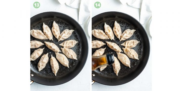 steps 13 and 14 of making gyoza: cover with water until wrappers shrink around filling, add a drizzle of sesame oil