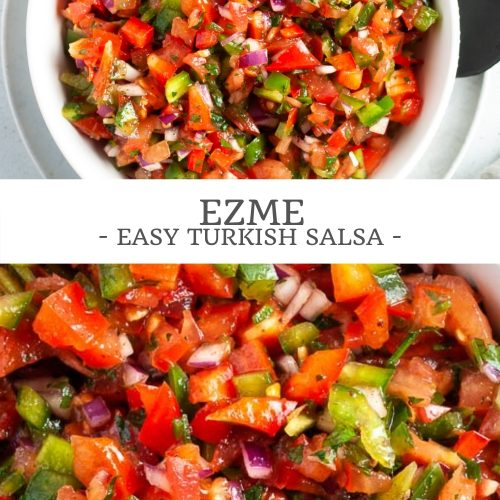 pin for Ezme Turkish salad showing two images, the top one of it in a serving bowl, the bottom image is a close up of the salad to show the ingredients
