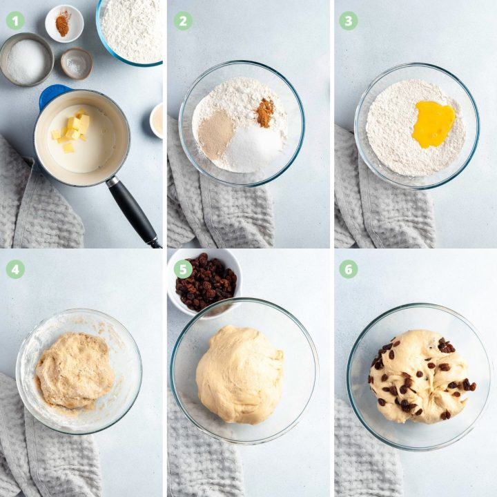 step by step photos of steps 1-6 making the dough for scolls