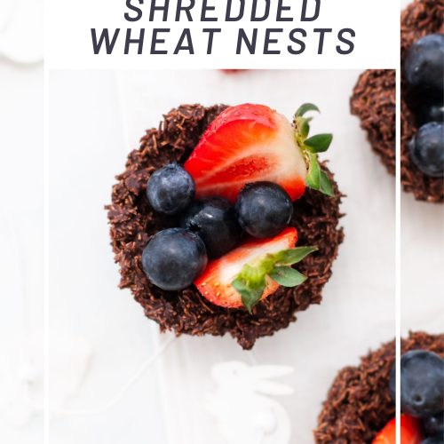 pin for easy 2 ingredient shredded wheat nests showing an overhead shot of a chocolate nest filled with strawberries and blueberries