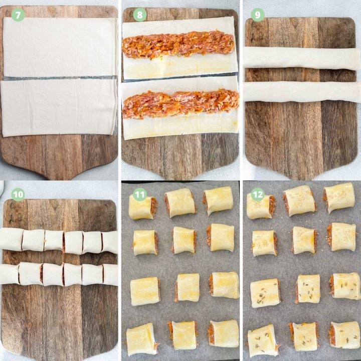 photographs of steps 7-12 of making pork and apple sausage rolls: cutting puff pastry, laying filling, rolling the sausage rolls, cutting them, glazing with egg, and sprinkling with fennel and sesame seeds