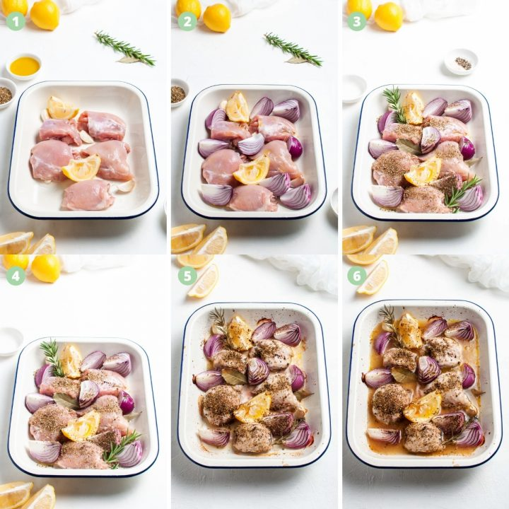6 process shots to show how to make the chicken traybake: put chicken thighs and lemon in tray, add onion wedges, sprinkle with fresh and dried herbs, season, bake, add stock and bake