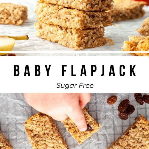 pin for sugar free baby flapjack showing two images: one of a stack and the other an overhead photo with toddler hands pointing to a flapjack