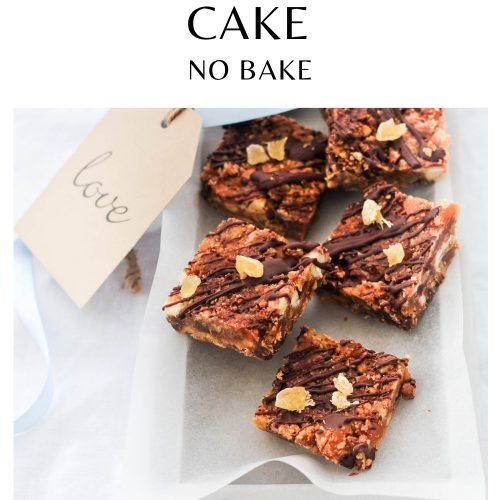 pin for chocolate ginger fridge cake showing squares of fridge cake in a rectangle tray being given as a gift