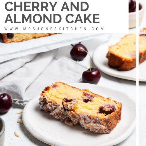 pin for easy cherry and almond cake showing a slice of cake on a plate, fresh cherries dotted around the plate