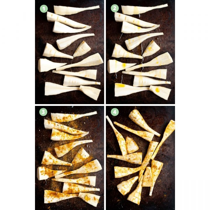 collage to show how to make roast parsnips: cut parsnips and arrange on tray, drizzle with oil, sprinkle with curry powder, salt and pepper, and rub in to the parsnips.