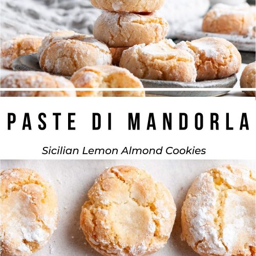 pin for paste di mandorla almond cookies, showing two images: the top one is a side view of cookies on the plate, the bottom image is an overhead shot of them on a baking tray.
